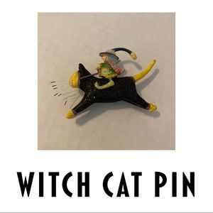 Witch Cat Halloween Pin/Brooch
